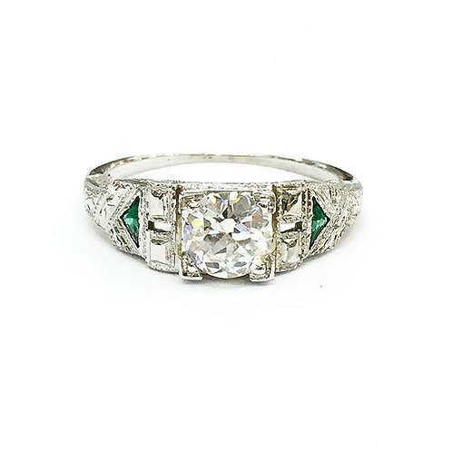 Art Deco Diamond & Emerald Engagement Ring