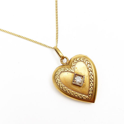 1900's Diamond Heart Pendant