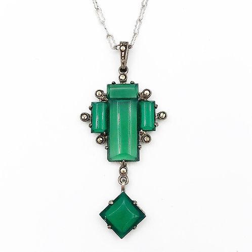 Art Deco Green Chalcedony Pendant