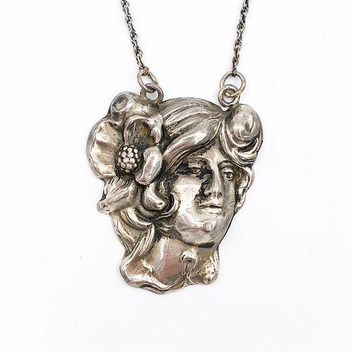 Art Nouveau Profile Necklace