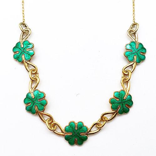 Enamel 4 Leaf Clover Necklace