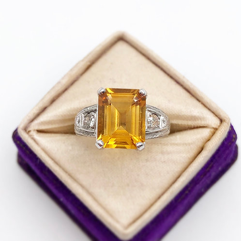 Art Deco Citrine & Diamond Ring