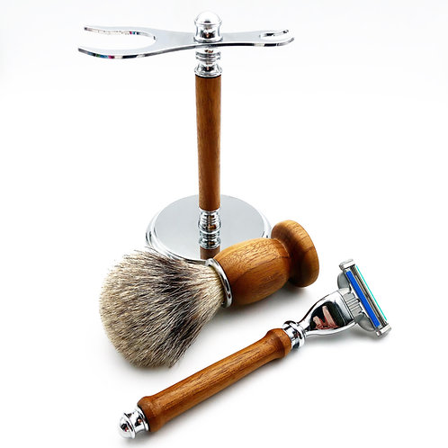 Dapper Wooden Razor, Brush, and Stand