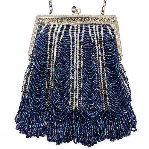 Midnight Blue Beaded Handbag