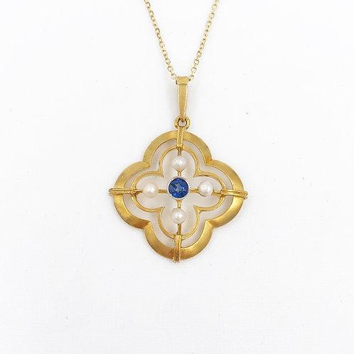 Sapphire & Pearl Lavalier