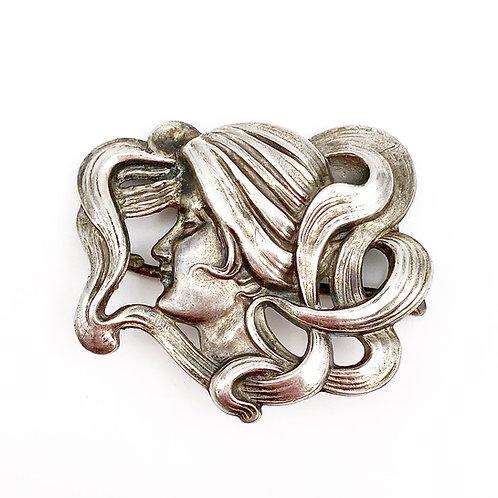 Sterling Art Nouveau Pin