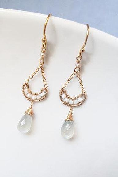 Moonstone & Opal Earrings