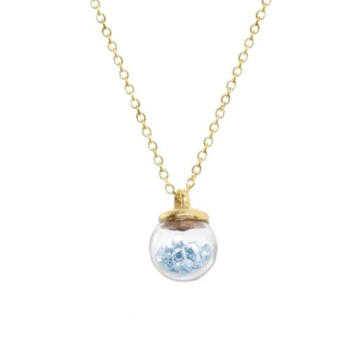 Mini Aqua Crystal Globe Necklace