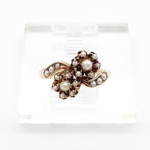 Floral Seed Pearl Ring