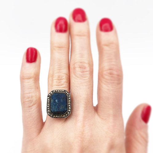 Art Deco Sodalite & Marcasite Ring