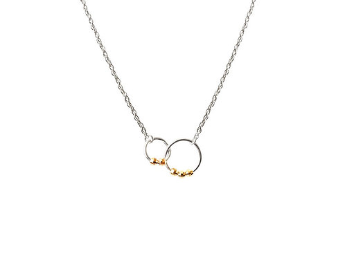 Sterling & Gold Interlacing Circle Necklace