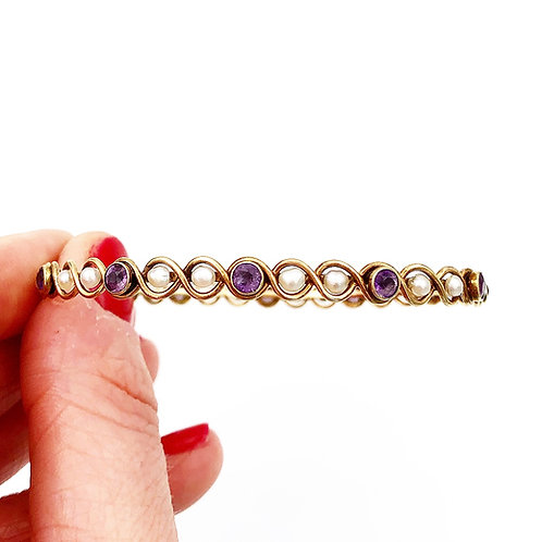 Amethyst & Pearl Bangle