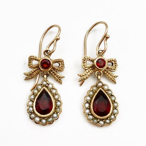 Garnet & Seed Pearl Bow Earrings