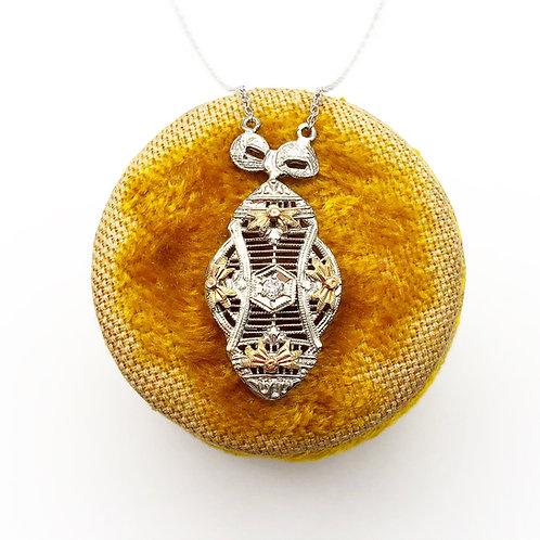Edwardian Tri Gold Filigree Diamond Pendant