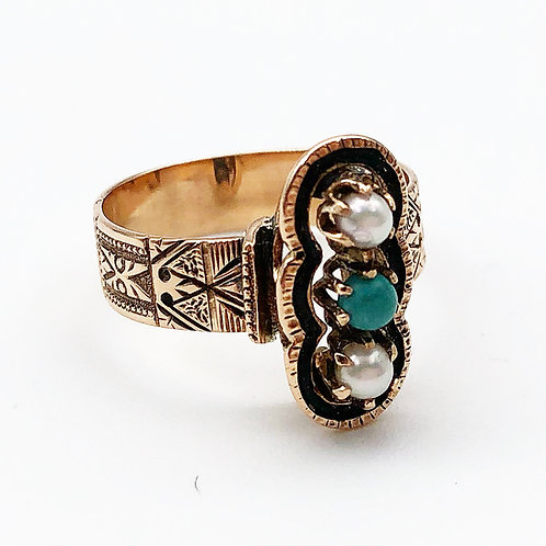 Victorian Turquoise & Pearl Rose Gold Ring
