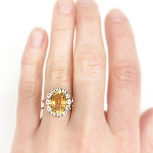 Art Deco Citrine Ring with Sapphire Halo