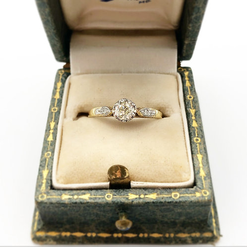 Two Tone Diamond Solitaire Ring