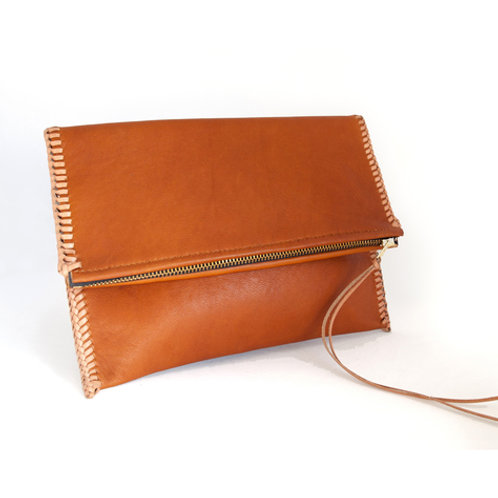 Brown Laced Fold-Over Clutch
