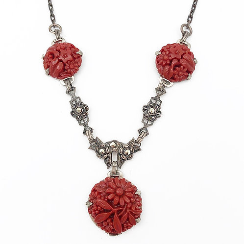 Carved Cornelian & Marcasite Necklace