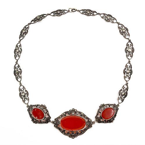 Art Deco Cornelian & Marcasite Necklace