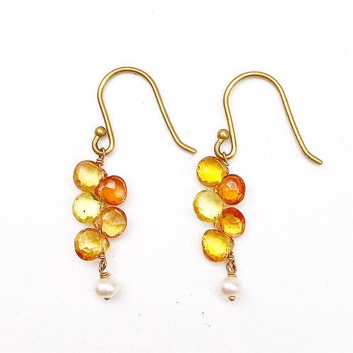 18k Yellow & Orange Sapphire Earrings