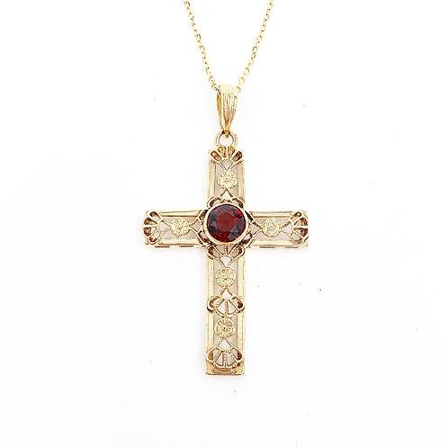 Garnet Filigree Cross