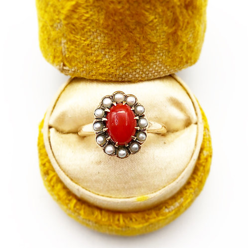 Coral & Seed Pearl Ring