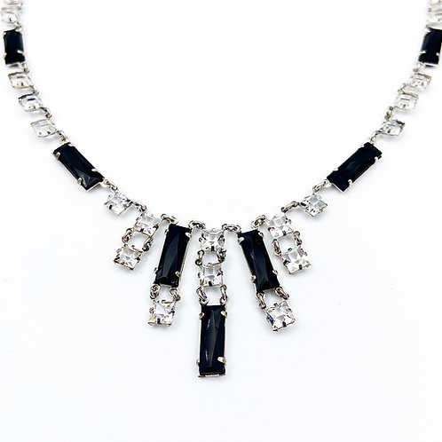 "Art Deco ""Black Tie"" Crystal Necklace"