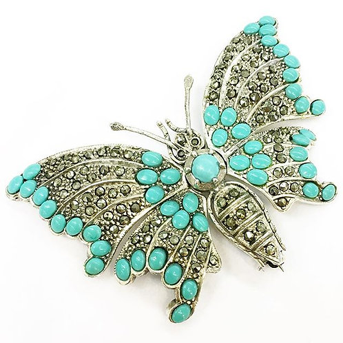 Sterling Turquoise & Marcasite Brooch