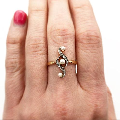 Rose Cut Diamond & Pearl Ring