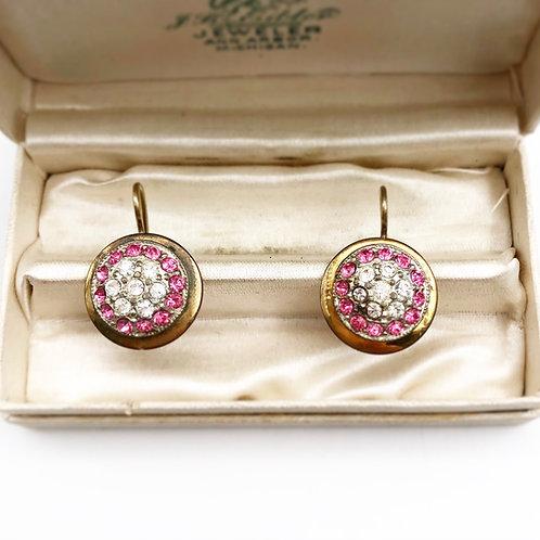 Pink & Clear Crystal Earrings