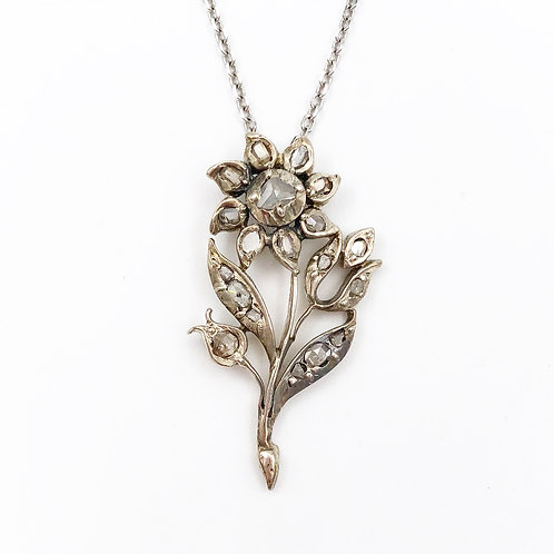 Rose Cut Diamond Flower Pendant