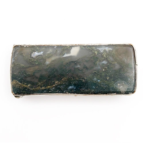 Sterling Agate Match Box or Pill Box