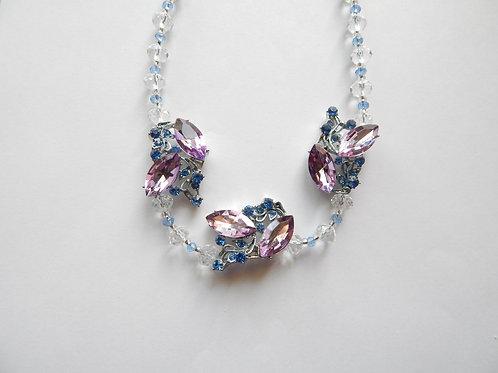 Necklace - Pink / Blue Crystal Flower Design - The Sparkling Thistle