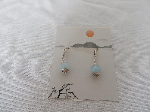 Earrings - E033 - Sterling Silver w/Larimar Beads - Classic Makings