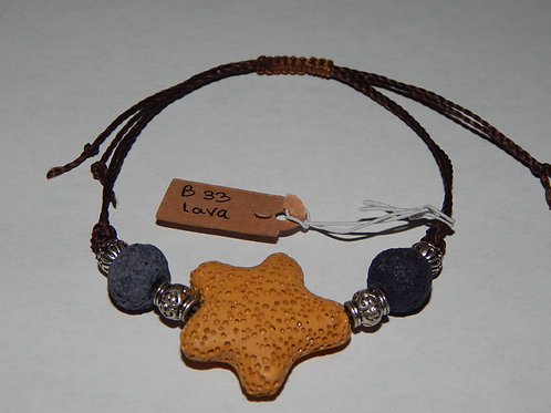 Bracelet - B33- Adjustable Yellow Star Lava Stone - Muggie Jewelr
