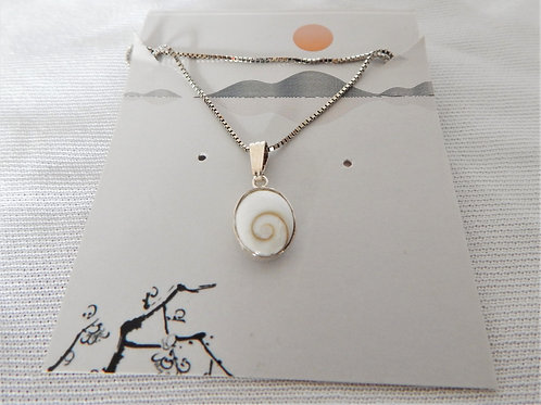 """Necklace - P019 - Sterling Silver 16"""" w/ Shell Pendant - Classic Makings"""