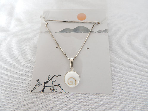 "Necklace - P020 - Sterling Silver 16"" Shell Pendant - Classic Makings"