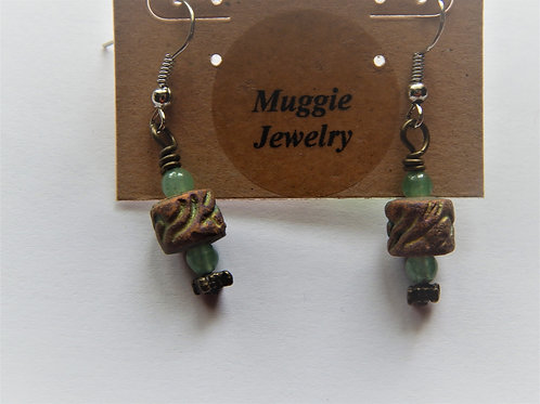 Earrings - Item E36 - Cylinder Clay Bead - Muggie Jewelry