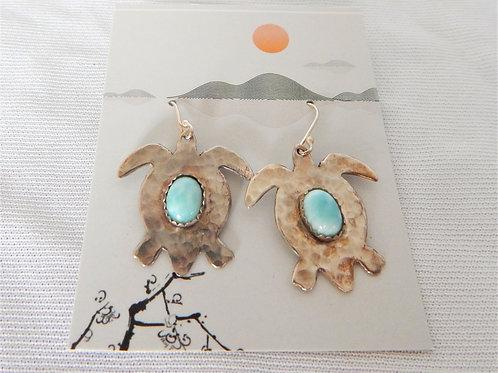 Earrings - E029 - Sterling Turtles w/Larimar - Classic Makings