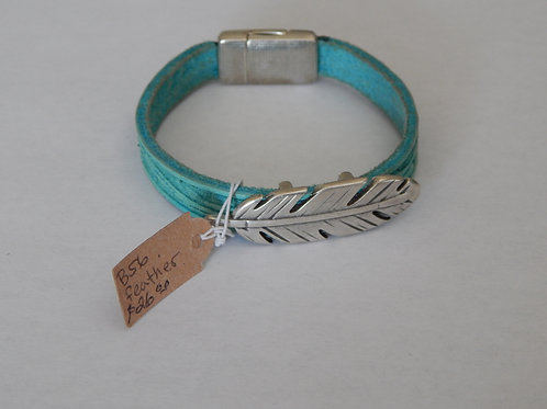 Bracelet - B56  Turquoise Leather / Feather - Muggie Jewelry