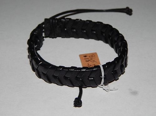 Mens Bracelet - B68M- Adjustable Braided Leather Black - Muggie Jewelry