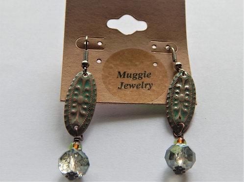 Earrings - Item E33 - Metal Embossed w/ Crystal - Muggie Jewelry