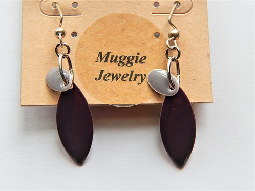 Earrings - Purple Enamel Marquise - Item E20 - Muggie Jewelry
