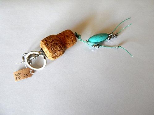 Cork Key Chain / Purse Charm - Item C12 - Turquoise Bead