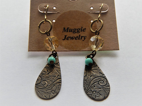 Earrings - Item E14 - Brass Teardrop / Turquoise Bead - Muggie Jewelry