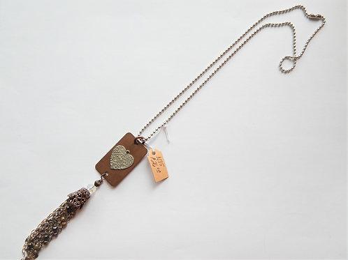 Necklace - Copper Tag / Silver Heart / Tassel - Muggie Jewelry