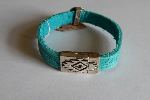 Bracelet - B59 - Turquoise Leather/Black Onyx - Muggie Jewelry