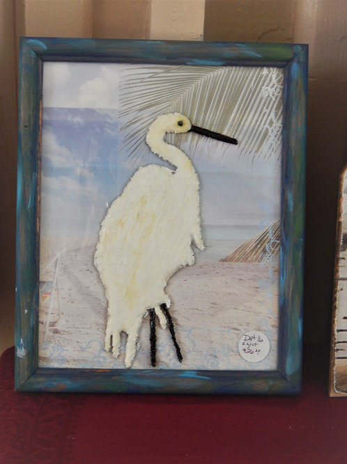 Egret - Resin on Glass - Bernie Graham