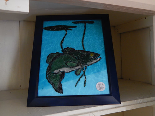 Resin Art - Fish & Lilly Pad on Glass - Bernie Graham